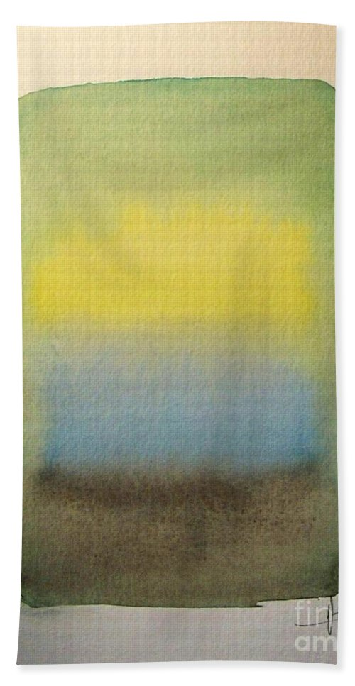 Abstract Watercolor Painting Bath Sheet featuring the painting Sun Shines by Vesna Antic