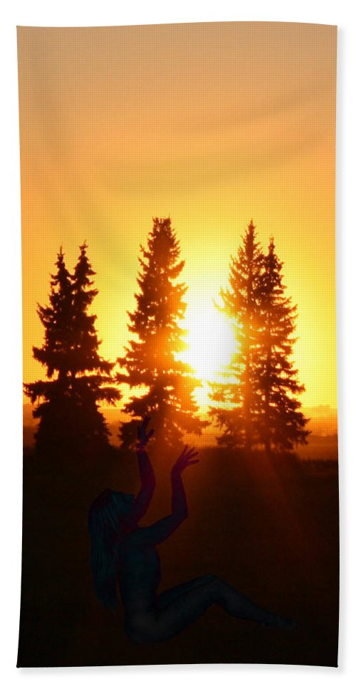 Sun Sorceress Goddess Worship Worshiper Trees Sunrise Sunset Angel Spirit Hand Towel featuring the photograph Sun Sorceress by Andrea Lawrence