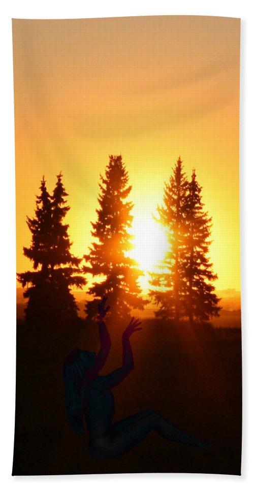 Sun Sorceress Goddess Worship Worshiper Trees Sunrise Sunset Angel Spirit Bath Sheet featuring the photograph Sun Sorceress by Andrea Lawrence
