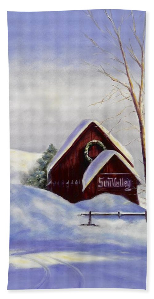 Landscape Hand Towel featuring the painting Sun Valley 2 by Shannon Grissom
