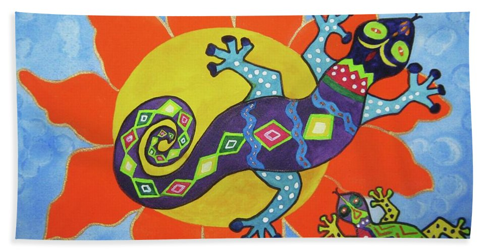 Colorful Lizards Bath Sheet featuring the painting Sunbathing Lizards by Ellen Levinson