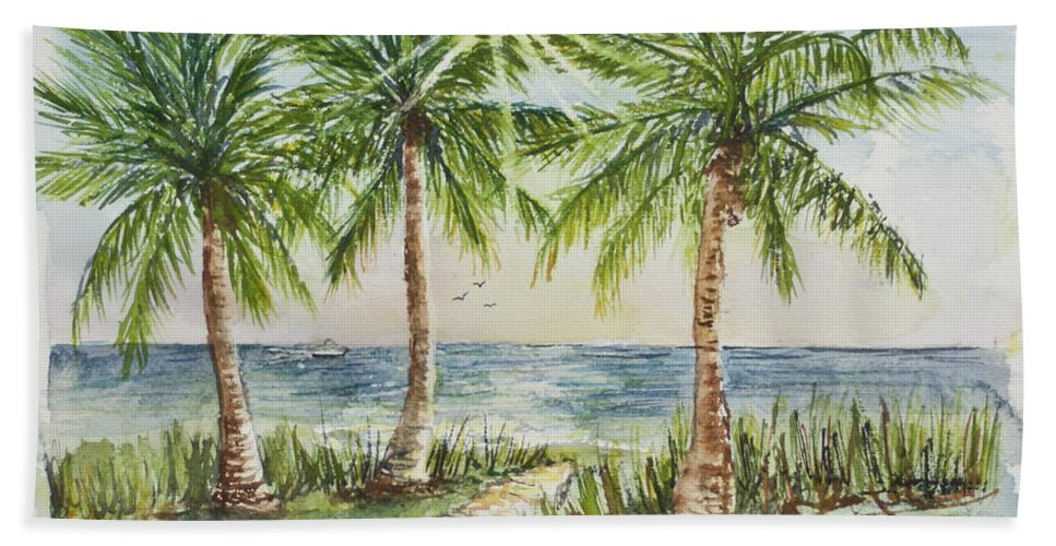 Palm Trees Bath Sheet featuring the painting Sunburst Beach Morning by Janis Lee Colon