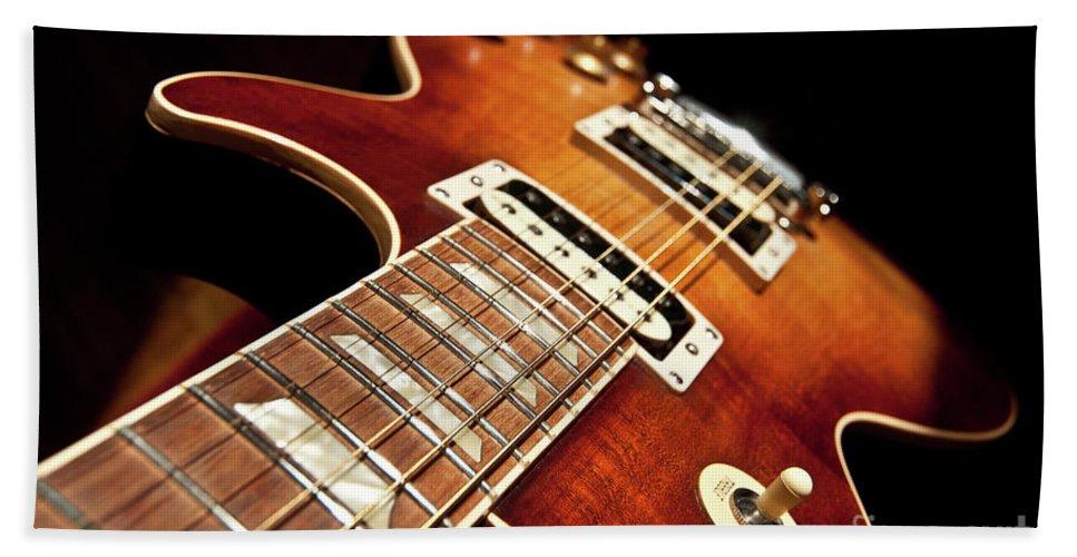 Guitar Bath Sheet featuring the photograph Sunburst Electric Guitar by Ilari