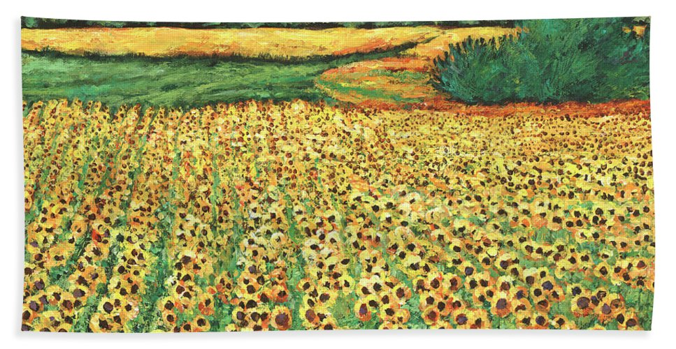 Landscape Bath Towel featuring the painting Sunburst by Johnathan Harris