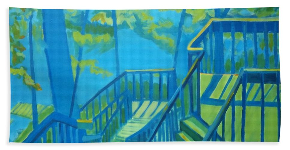 New Hampshire Bath Towel featuring the painting Suncook Stairwell by Debra Bretton Robinson