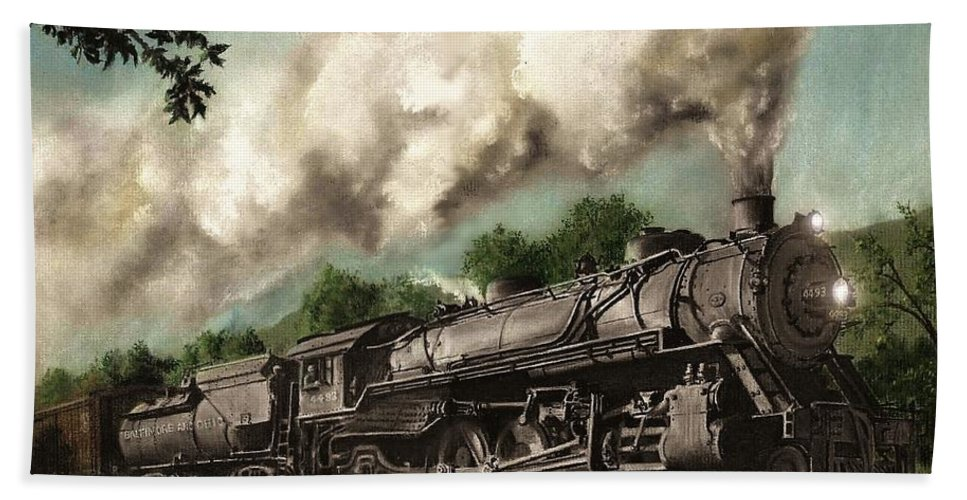 Baltimore & Ohio Railroad B&o Q4 Train Painting Railroad Maryland And Pennsylvania Autumn Fall Colors Steam Engine Bath Towel featuring the painting Sunday Drive by David Mittner