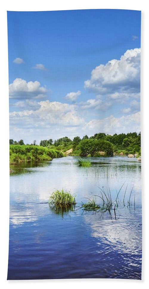 Landscape Bath Sheet featuring the photograph Sunday River by Vadzim Kandratsenkau