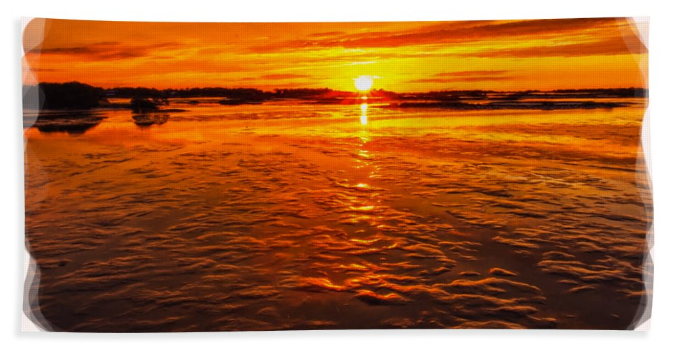 Sky Hand Towel featuring the photograph Sundown At Low Tide 2 by John M Bailey