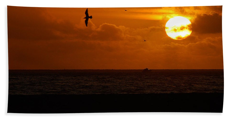 Clay Bath Towel featuring the photograph Sundown Flight by Clayton Bruster