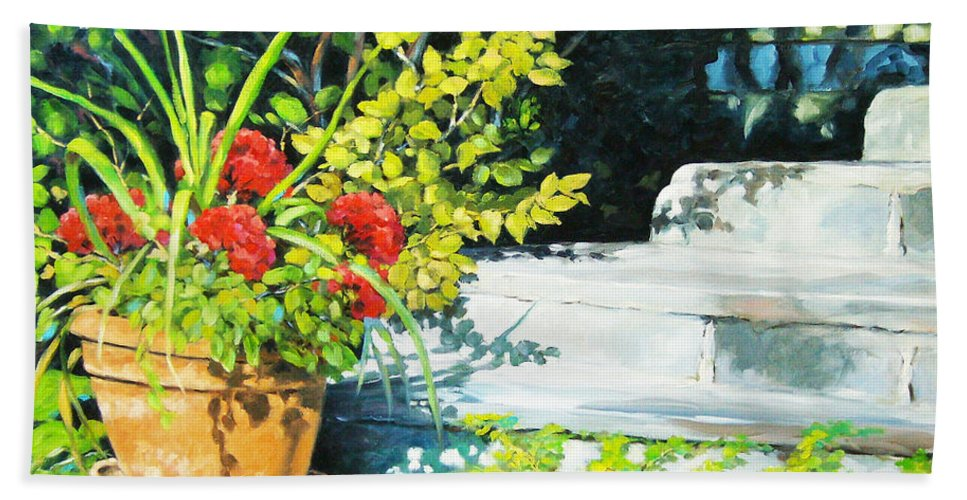Art Bath Towel featuring the painting Sunfilled Steps 01 by Richard T Pranke