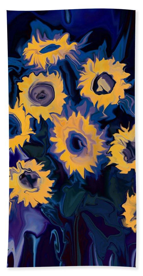 Art Bath Sheet featuring the digital art Sunflower 1 by Rabi Khan
