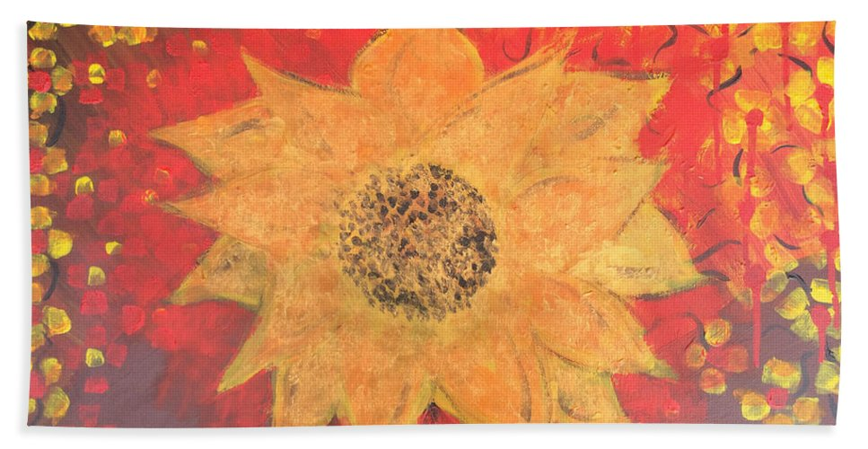 Hand Towel featuring the painting Sunflower by Cynthia Williams