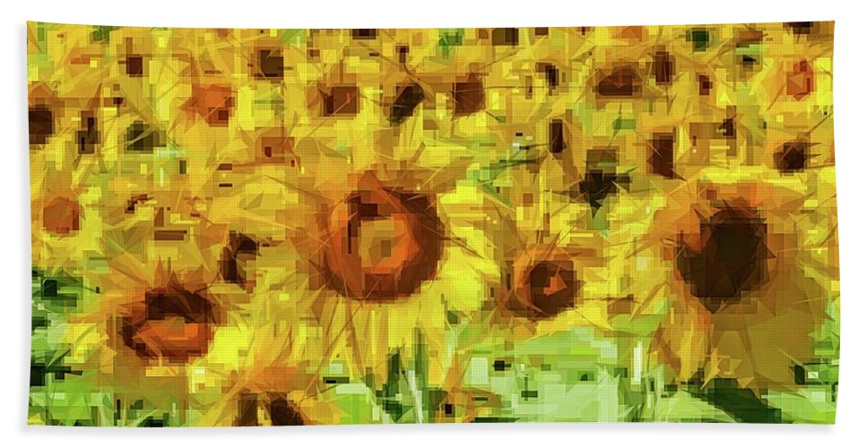 Alicegipsonphotographs Bath Sheet featuring the photograph Sunflower Edges by Alice Gipson