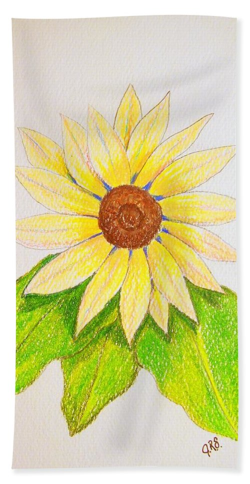 Stationery Card Hand Towel featuring the drawing Sunflower by J R Seymour