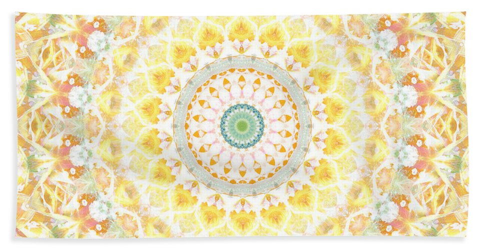 Sunflower Bath Towel featuring the painting Sunflower Mandala- Abstract Art by Linda Woods by Linda Woods