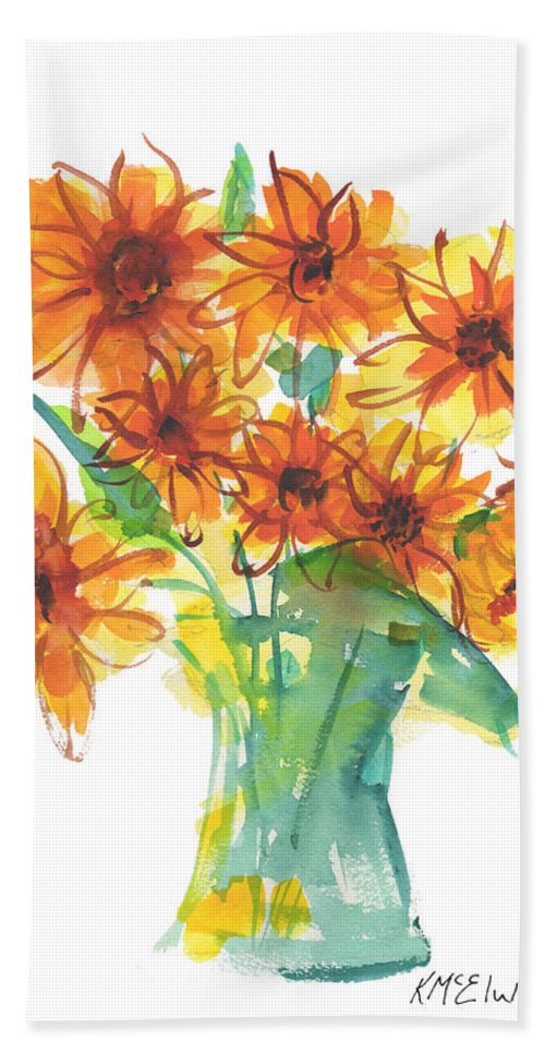 Boquet Of Flowers In A Turquoise Vase Hand Towel featuring the painting Sunflower Medley II Watercolor Painting By Kmcelwaine by Kathleen McElwaine