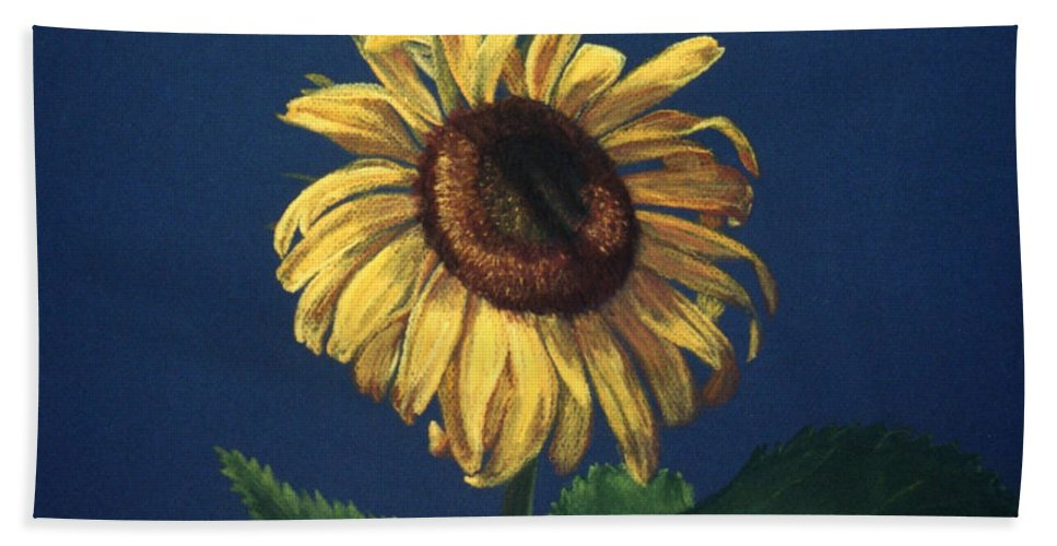 Flower Bath Sheet featuring the painting Sunflower by Melissa Joyfully
