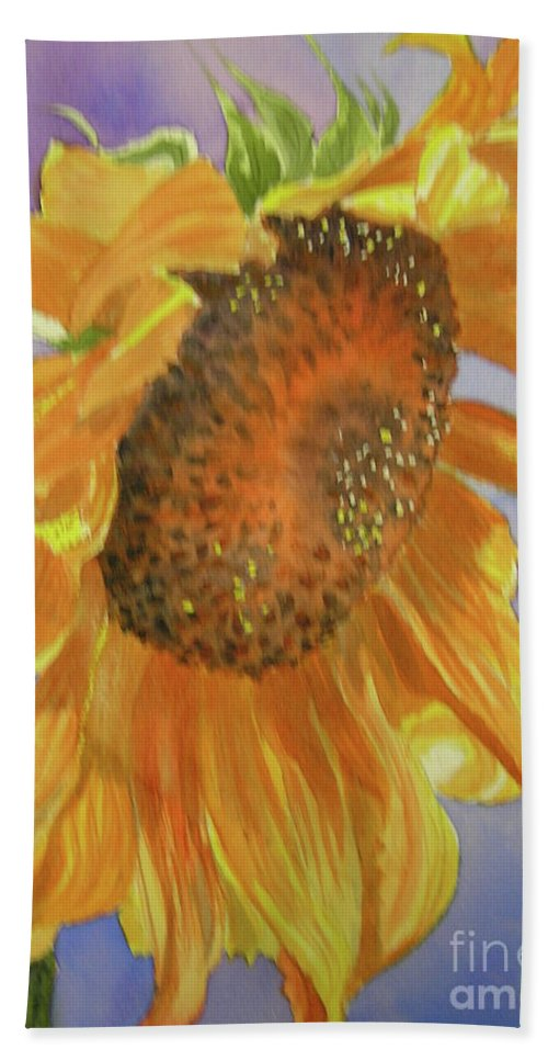 Sunflower Bath Towel featuring the painting Sunflower by Midge Pippel