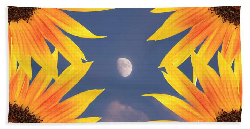 Sunflower Hand Towel featuring the photograph Sunflower Moon by James BO Insogna