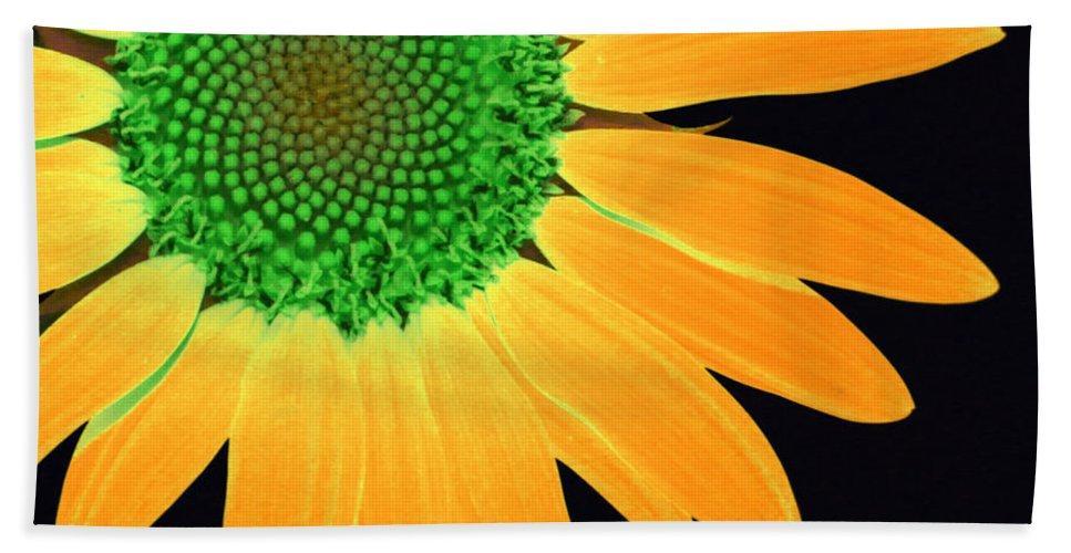 Sun Bath Sheet featuring the digital art Sunflower Mosaic 1 by Tina Meador