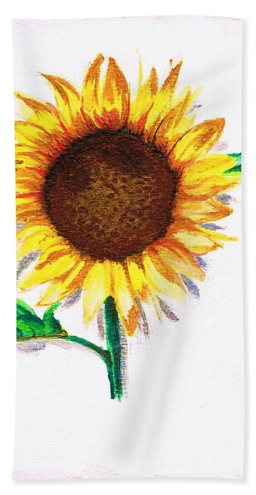 Bath Sheet featuring the painting Sunflower by People Collect