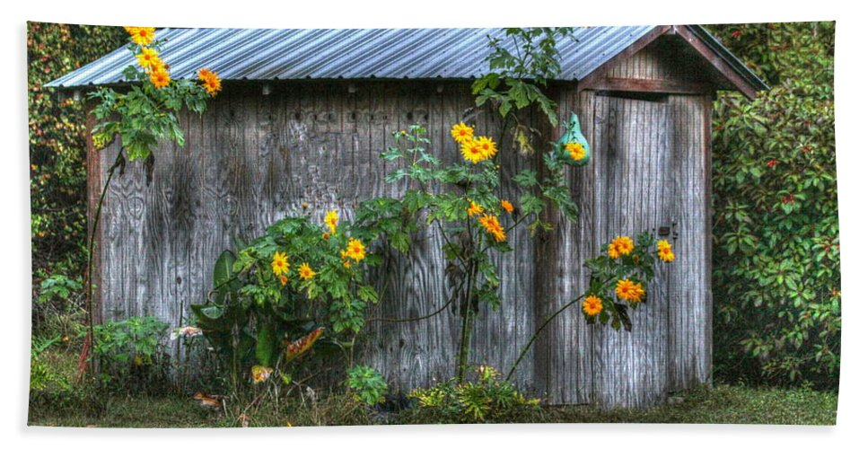 Flowers Bath Sheet featuring the photograph Sunflower Shed by Myrna Bradshaw