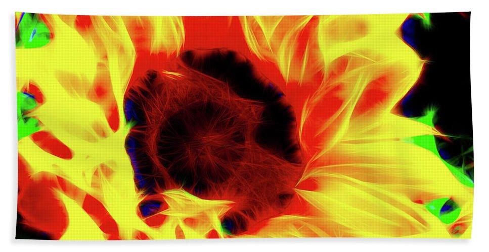 Sunflower Bath Sheet featuring the photograph Sunflower Sunburst by Jerome Stumphauzer