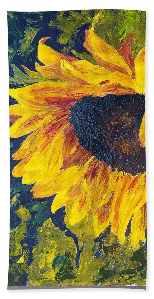 Bath Towel featuring the painting Sunflower by Tami Booher
