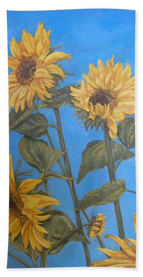 Sunflower Bath Towel featuring the painting Sunflower by Travis Day