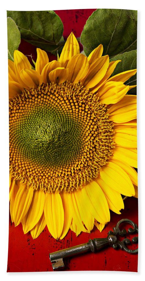 Sunflower Bath Towel featuring the photograph Sunflower With Old Key by Garry Gay