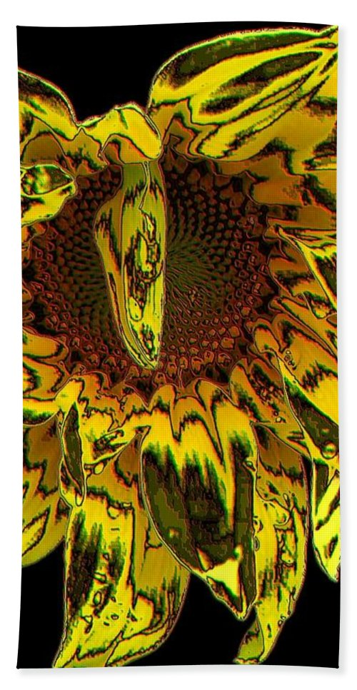 Sunflowers Bath Sheet featuring the photograph Sunflower With Stone Effect by Rose Santuci-Sofranko