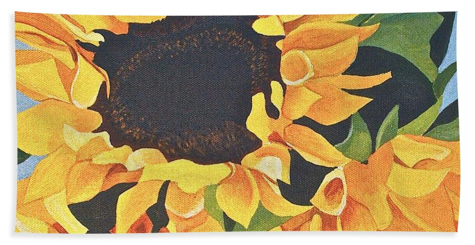 Flowers Bath Sheet featuring the painting Sunflowers #3 by Donna Blossom