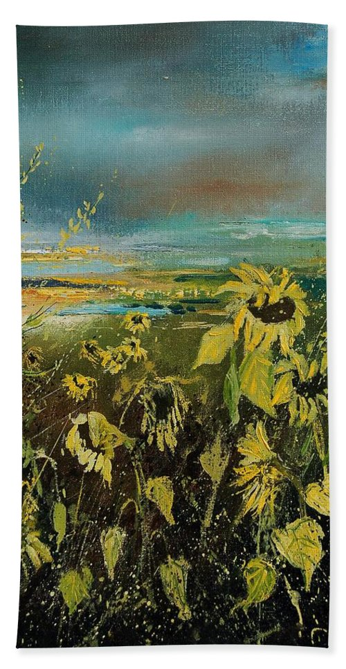 Flowers Bath Towel featuring the painting Sunflowers 562315 by Pol Ledent