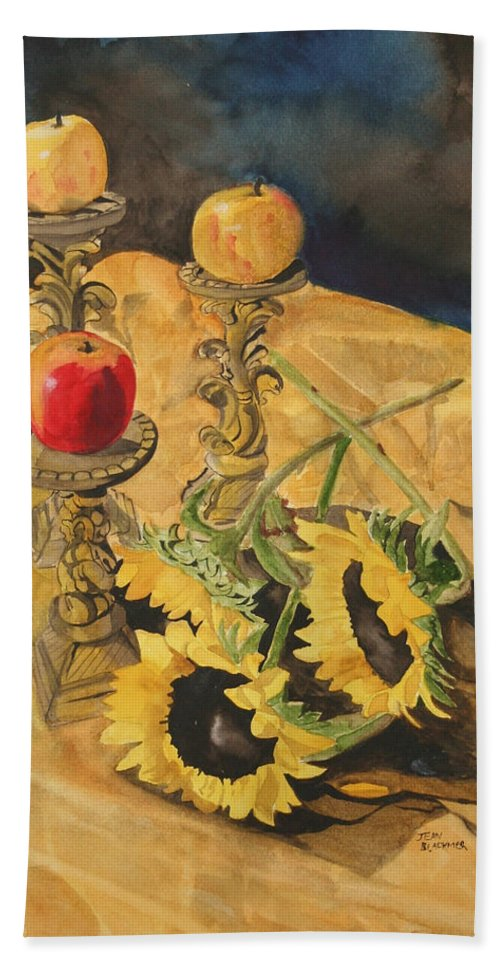 Still Life Hand Towel featuring the painting Sunflowers and Apples by Jean Blackmer