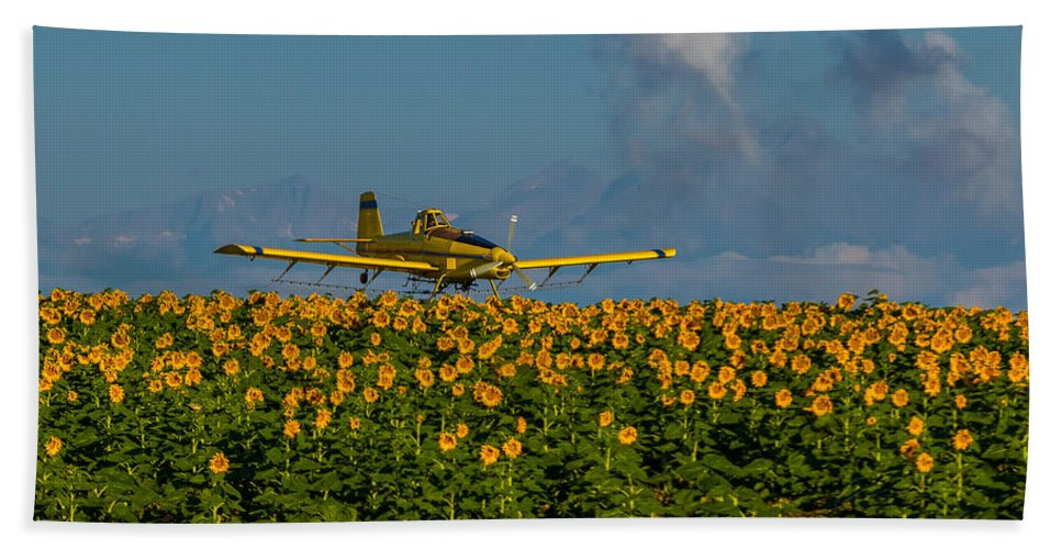 Rocky Mountains Bath Sheet featuring the photograph Sunflowers And Crop Duster by Vicki Stansbury
