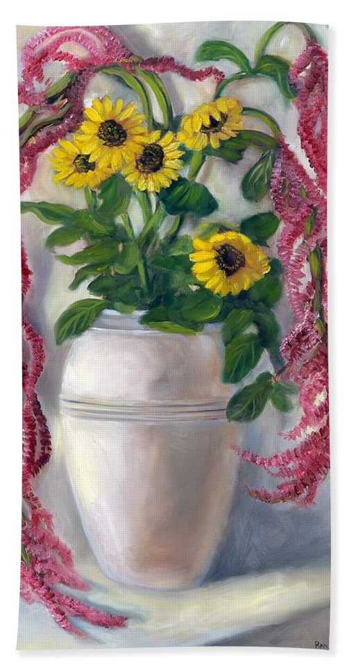 Sunflowers Hand Towel featuring the painting Sunflowers And Love Lies Bleeding by Randy Burns