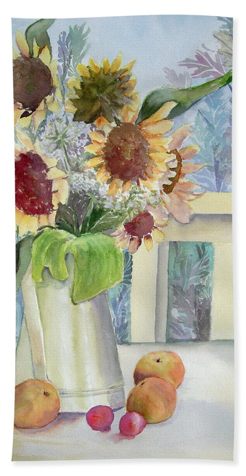 Flower Bath Sheet featuring the painting Sunflowers And Peaches by Katherine Berlin