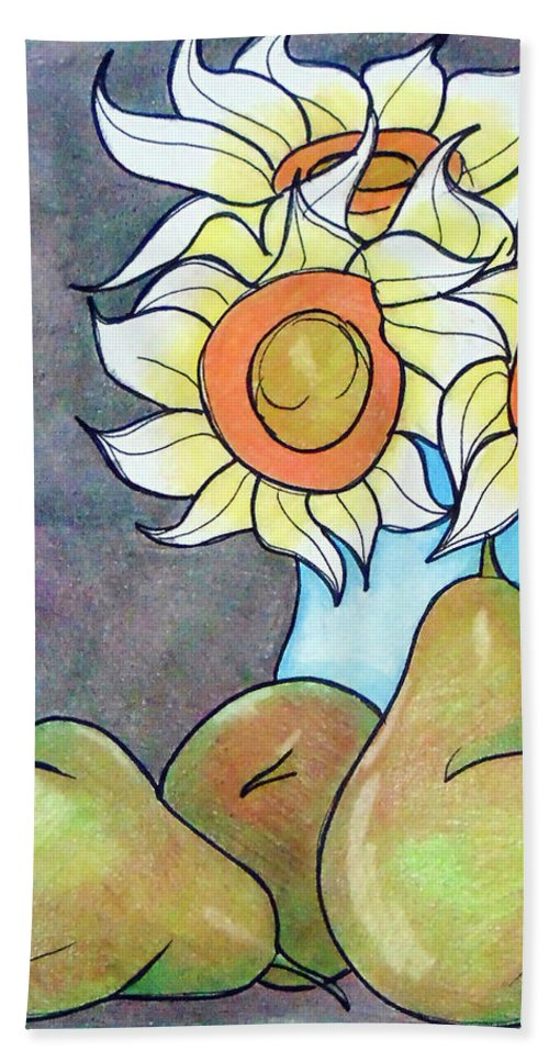 Sunflowers Bath Towel featuring the drawing Sunflowers And Pears by Loretta Nash