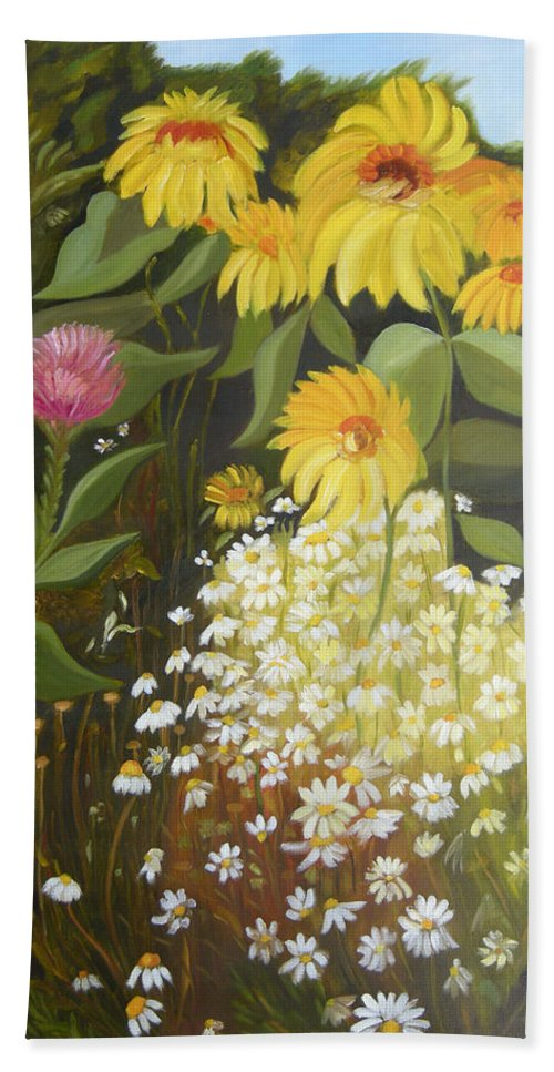 Landskape Bath Towel featuring the painting Sunflowers by Antoaneta Melnikova- Hillman
