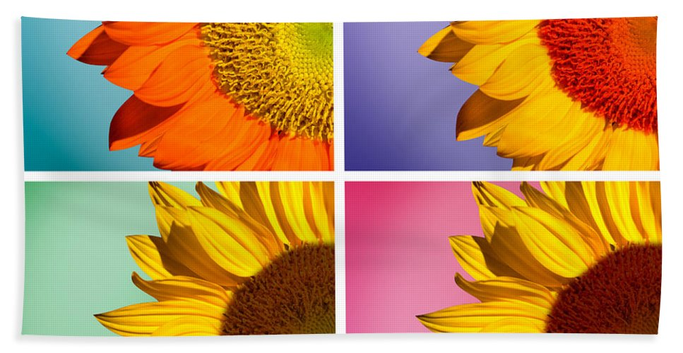 Sunflowers Bath Towel featuring the photograph Sunflowers Collage by Mark Ashkenazi