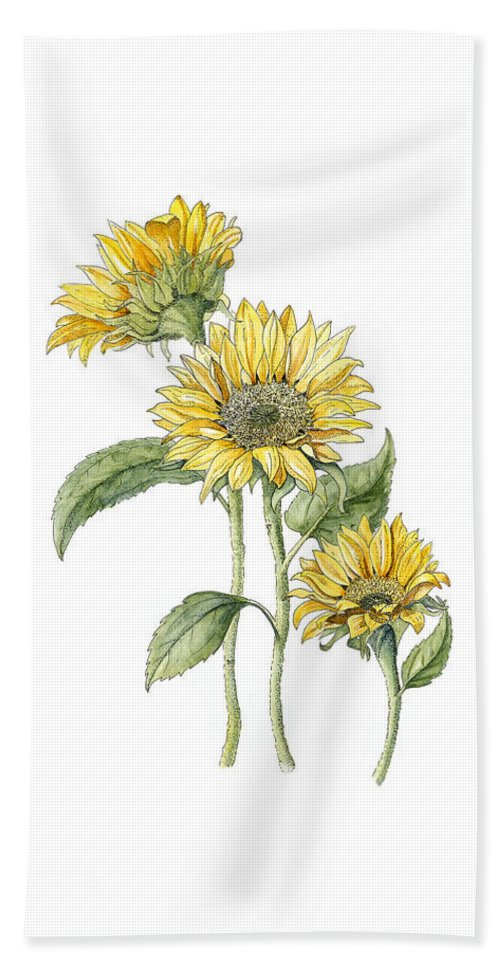 Blooms Hand Towel featuring the painting Sunflowers by Diane Inman