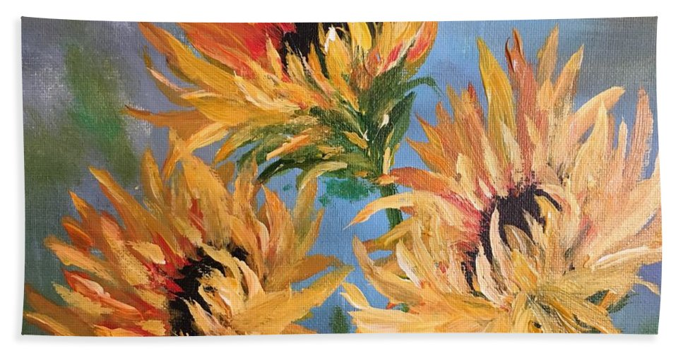 Floral Hand Towel featuring the painting Sunflowers by Filomena Irving