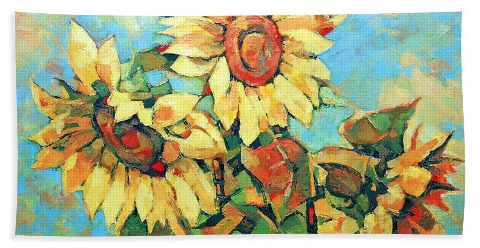 Sunflowers Bath Towel featuring the painting Sunflowers by Iliyan Bozhanov