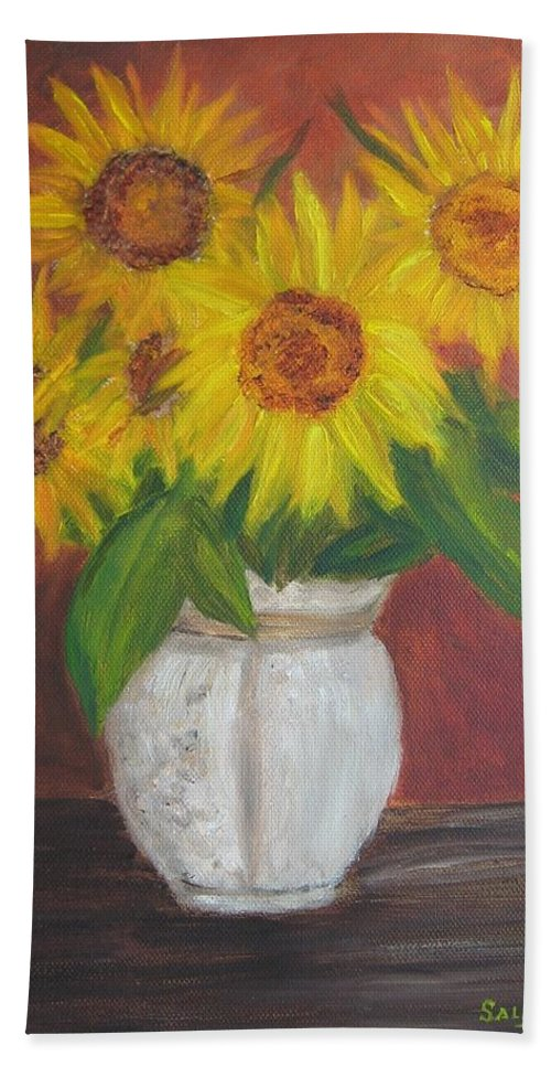 Sunflowers Hand Towel featuring the painting Sunflowers In A Clay Pot by Sally Jones