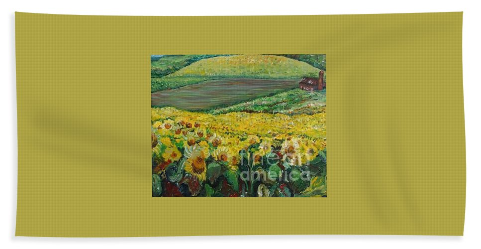 A Field Of Yellow Sunflowers Bath Towel featuring the painting Sunflowers In Provence by Nadine Rippelmeyer
