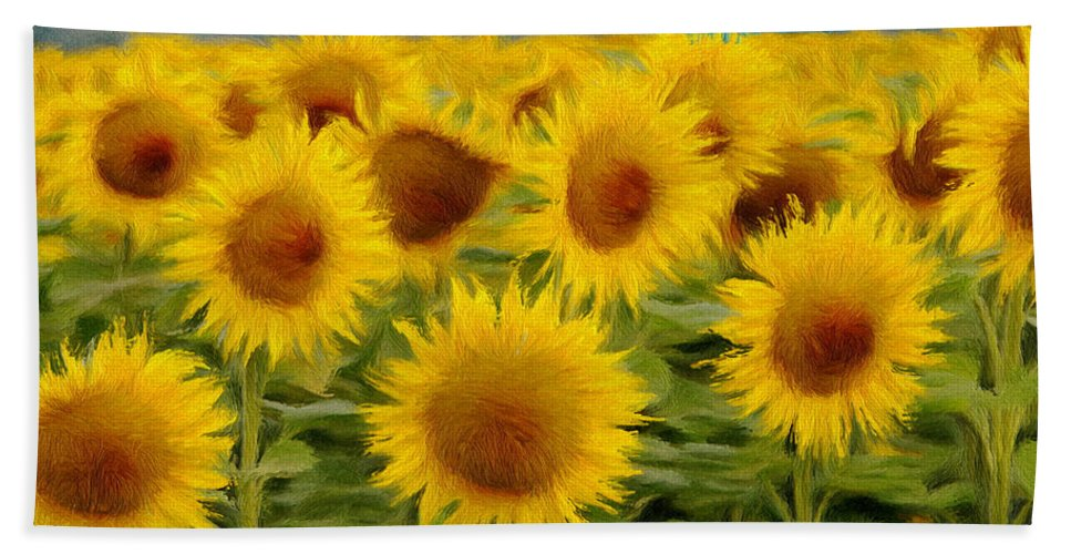 Sunflower Hand Towel featuring the painting Sunflowers In The Field by Jeffrey Kolker