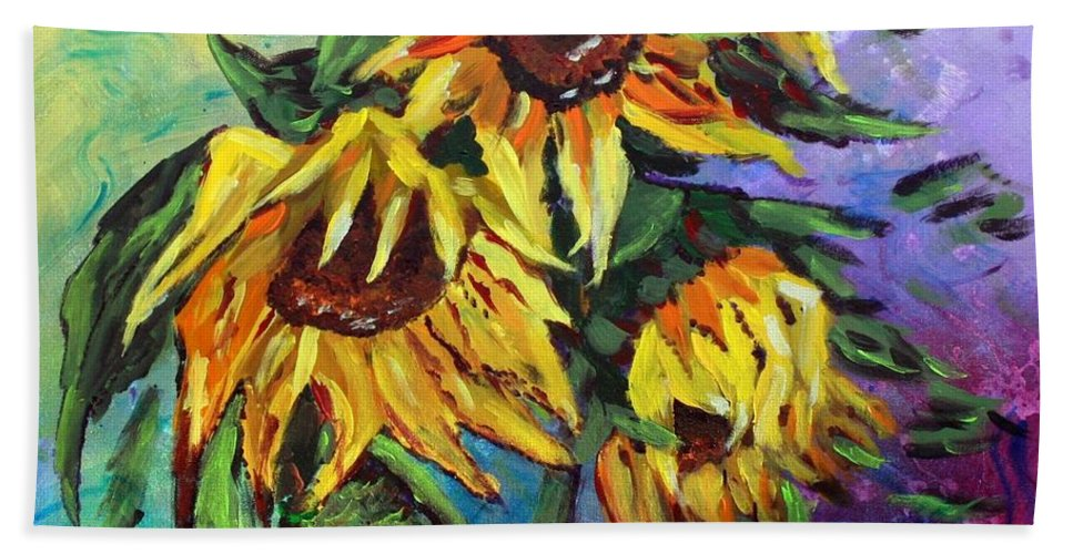 Art Bath Towel featuring the painting Sunflowers In The Rain by Luiza Vizoli