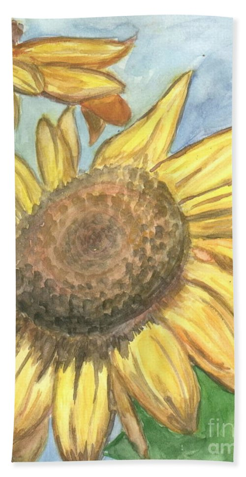 Daisy Bath Towel featuring the painting Sunflowers by Jacqueline Athmann
