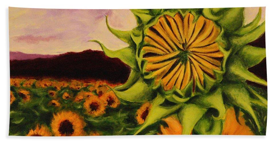 Sunflowers Hand Towel featuring the painting Sunflowers by John Prehart