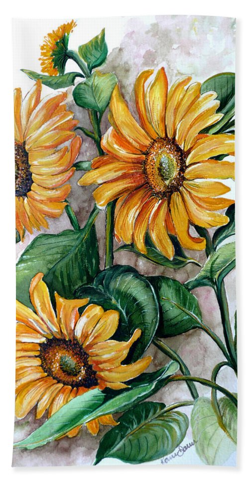 Flower Paintings Yellow Flower Paintings Floral Paintings Botanical Paintings  Sun Flower Paintings Greeting Card Paintings Canvas Paintings Prints Paintings  Bath Sheet featuring the painting Sunflowers by Karin Dawn Kelshall- Best